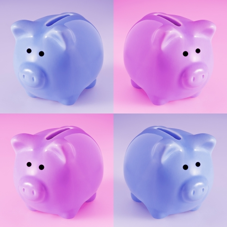 put away: Four ceramic piggy banks on pink and blue backgrounds  Stock Photo
