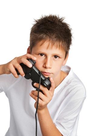 Boy with games controller Archivio Fotografico