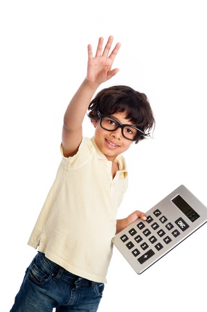 hands on pocket: Cute mixed race boy with big calculator. Isolated on white studio background.