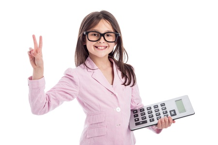 Young girl counting a calculator and holding up two fingers. Isolated on white background. Stock Photo - 21064091