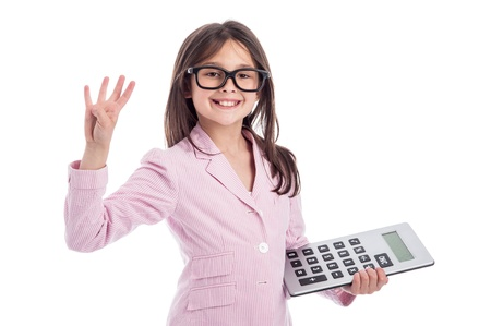 Young girl counting a calculator and holding up four fingers. Isolated on white background. Stock Photo - 21064093