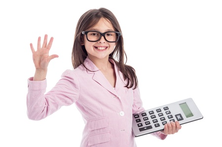 Young girl counting a calculator and holding up five fingers. Isolated on white background. Stock Photo - 21064094