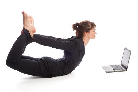 work life balance: Business woman multi tasking  Studio shot, isolated on white