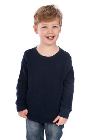 Happy boy laughing. Isolatde on white. Standard-Bild