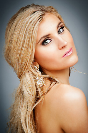 Beauty shot of blond female model  photo