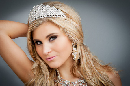 Girl wearing tiara and sparkling jewlery  photo