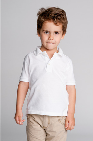 Gorgeous studio portrait of handsome toddler boy. Stock Photo