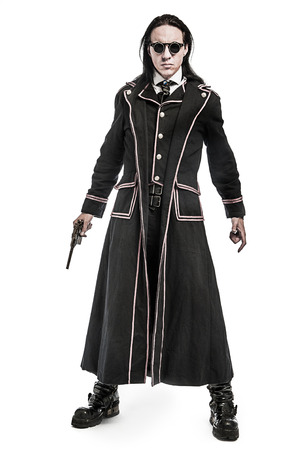 outfit: Steampunk fantasy figure shot in studio on white background. Stock Photo