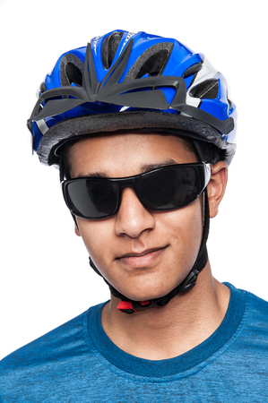 bicyclists: Saftey wear for cycling. Shot in studio on white background. Stock Photo