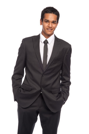 afro caribbean ethnicity: Teenager in impressive smart suit. Ready for job interview. Studio shot on white background.