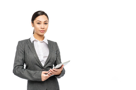 Smart mixed race chinese Asian woman in business suit.