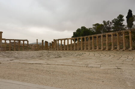1st century: The massive 80m x 90m oval plaza, surrounded by a colonnade of 1st century Ionic columns  Jerash, Jordan