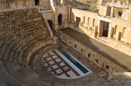 The North Theatre, which is considerably smaller than the South Theatre  Jerash, Jordan