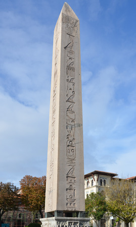 The Obelisk of Thutmosis III, one of the surviving Hippodrome spina monuments  This obelisk was originally erected in Egypt around 1490 BC, and has been in this spot in Istanbul since 390 AD