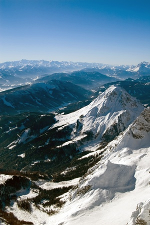 Winter mountains on a bright sunny day  Stock Photo
