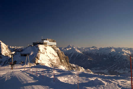 Winter lodge and ski areal, Austria Stock Photo