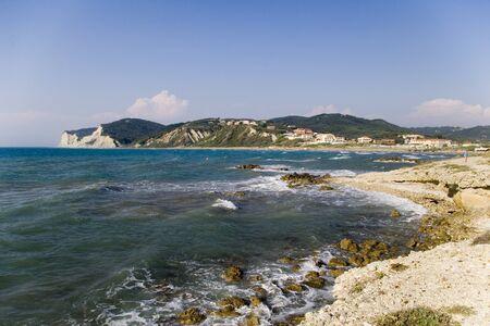 Agios Georgios seaside panoramic resort view from above, Corfu, Greece