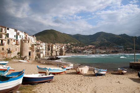 beach and waterfront of cefalu in sicily,italy  Stock Photo