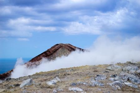Grand Crater in the sulphur smoke, island Volcano, Lipari Islands, Sicily Stock Photo