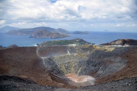 Grand crater Vulcano, Lipari Island, Sicily, Italy