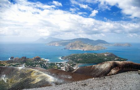 Cloudy coast of Lipari Island, Vulcano, Sicily, Italy photo