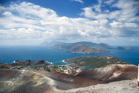 lipari: Cloudy coast of Lipari Island, Vulcano, Sicily, Italy