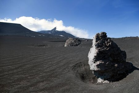 Big volcanic rock on mt. Etna