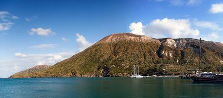 Paonramic view of Vulcano island, Lipari, Sicily