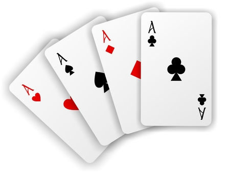 Vector playing cards  Four aces isolated on white background Vector