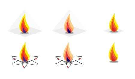 Vector energy fire flame symbols isolated on white background