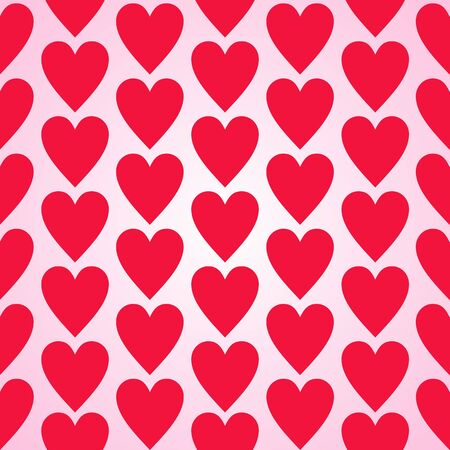 Red heart seamless background pattern flat design Vector