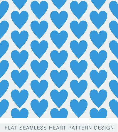 Blue flat seamless heart pattern design Vector