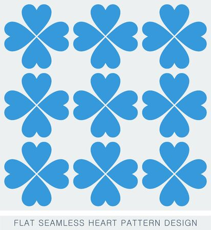 Blue heart seamless background pattern flat design Vector