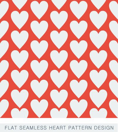Red flat seamless heart pattern design Vector