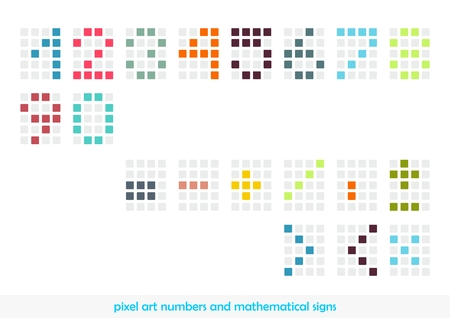 Pixel art numbers and mathematical signs in pastel colors
