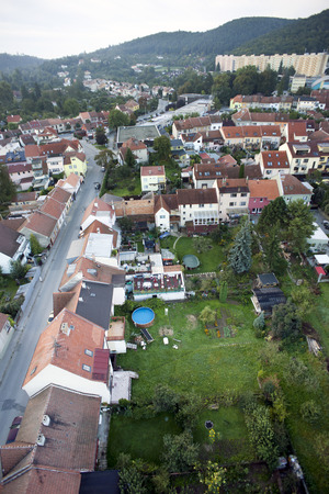 Highly detailed aerial city view with crossroads, roads, houses, parks, parking lots, bridges, Brno, Czech Republic photo