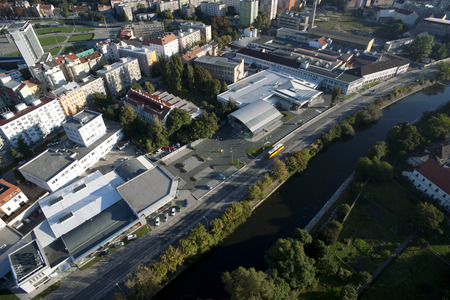 Highly detailed aerial city view with crossroads, roads, factories, houses, parks, parking lots, exhibition grounds, Brno, Czech Republic Stock Photo