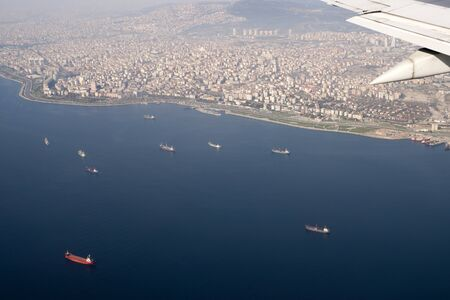 Birds view of cargo ships and Istanbul, Turkey photo