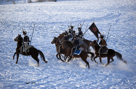 austerlitz: Charging horse warriors, Austerlitz, Czech Republic Editorial