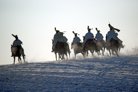 austerlitz: Charging horse warriors, Battle of Austerlitz Stock Photo