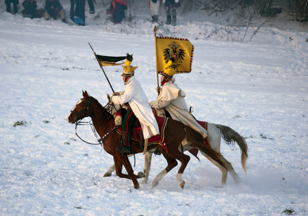TVAROZNA, CZECH REPUBLIC - DECEMBER 4, 2010: History fan in military costume reenacts the Battle of Three Emperors on December 4, 2010 in Tvarozna, Czech Republic.