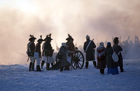 austerlitz: Cannoneer silhouettes, Battle of Austerlitz, Czech republic