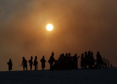 austerlitz: Warrior silhouettes, Battle of Austerlitz, Tvarozna, Czech republic Stock Photo