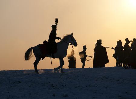 austerlitz: Warrior silhouettes, Battle of Austerlitz, Tvarozna, Czech republic Editorial