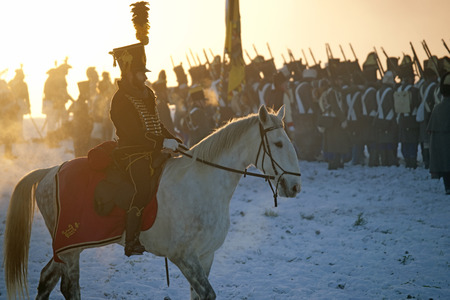austerlitz: History fan in military costume reenacts the Battle of Three Emperors  Editorial