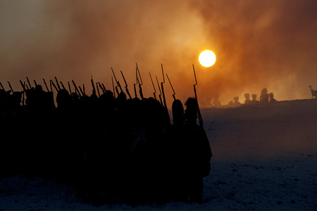 Warrior silhouettes, Battle of Austerlitz, Tvarozna, Czech republic