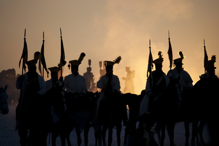 Warrior silhouettes, Battle of Austerlitz, Tvarozna, Czech republic Stock Photo