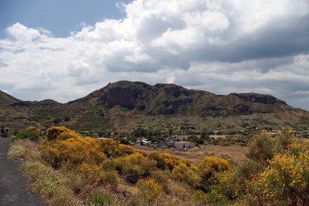 vulcano: Small village under Vulcano - active volcano, Lipari, Sicily, Italy