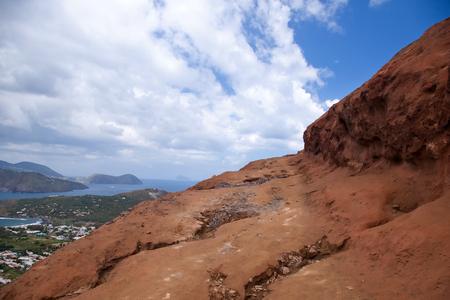 volcano slope: Red slope of the Vulcano volcano, Sicily