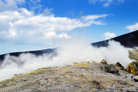 Sulfur smoke, Vulcano island, Lipary, Sicily photo